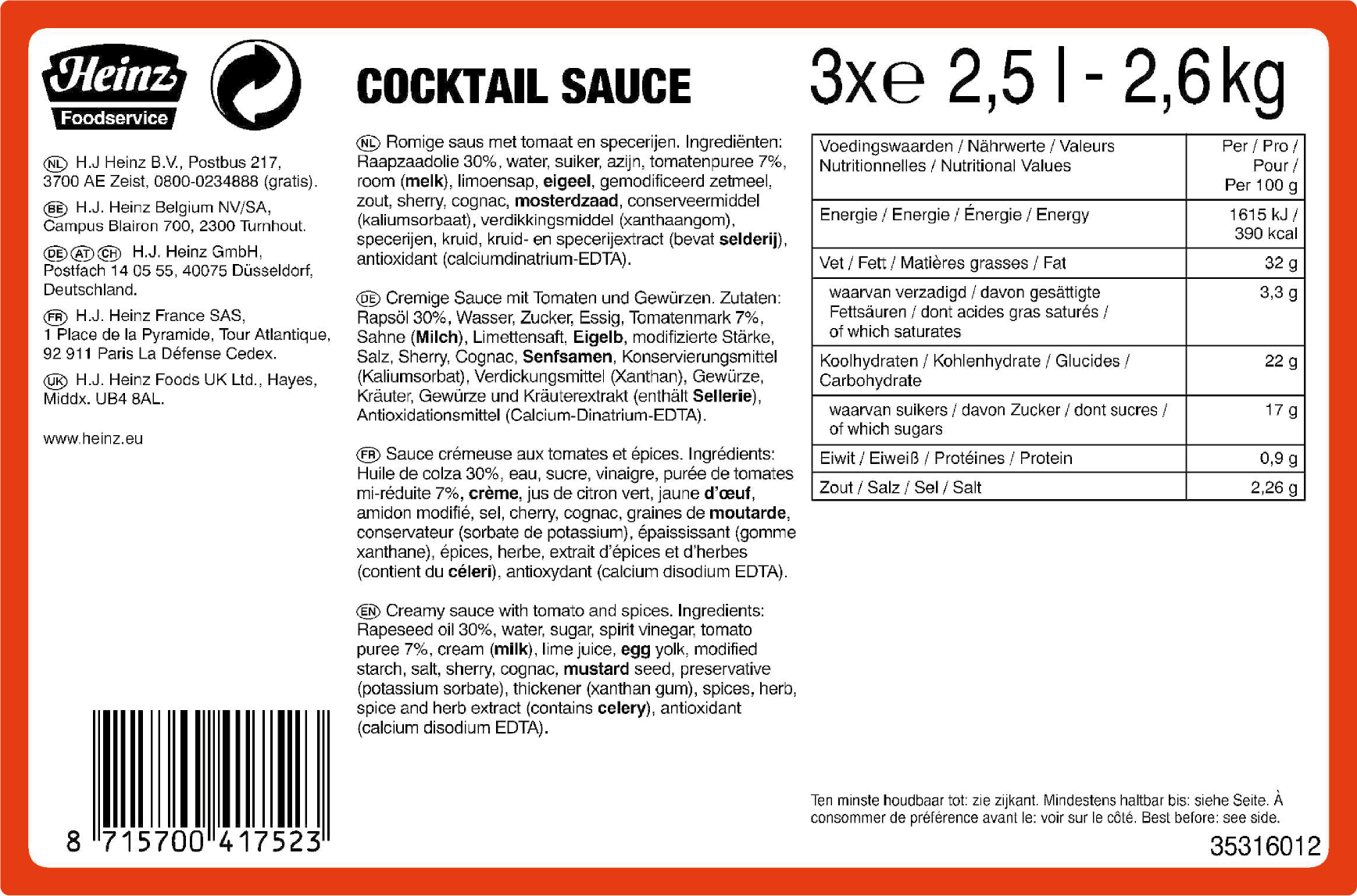 Heinz SOM Cocktail saus 2.5L