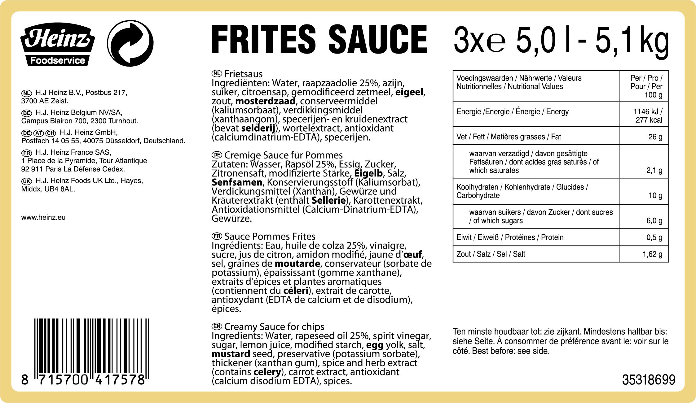 Heinz Pommes Frites Sauce 5000ml