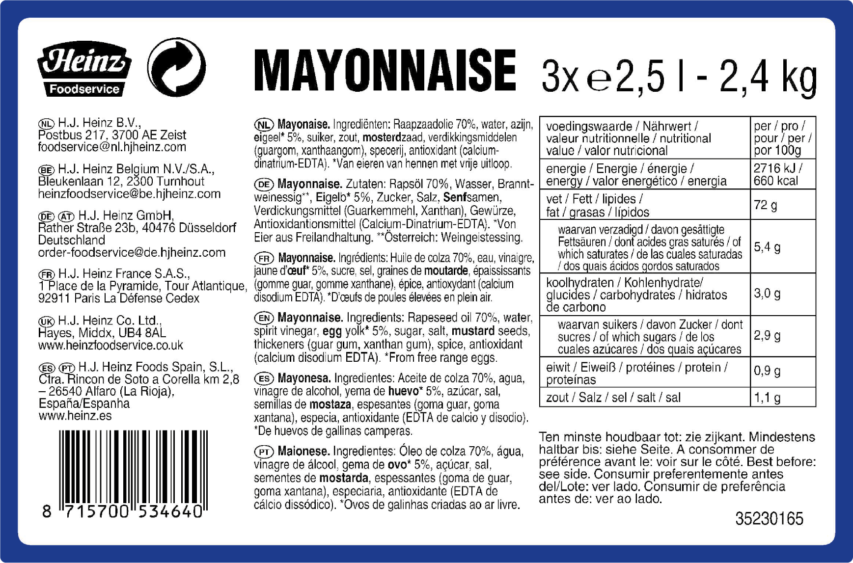 Heinz SOM Seriously Good Mayonaise 70% 2.5L