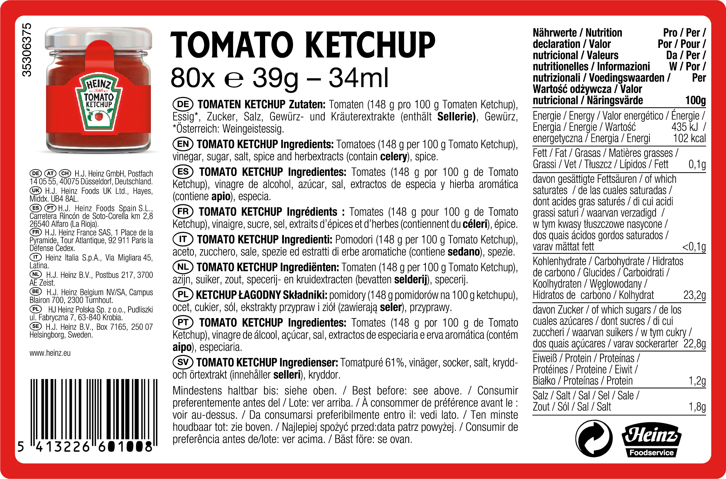 Heinz Tomato ketchup 34ml Mini Pot Verre