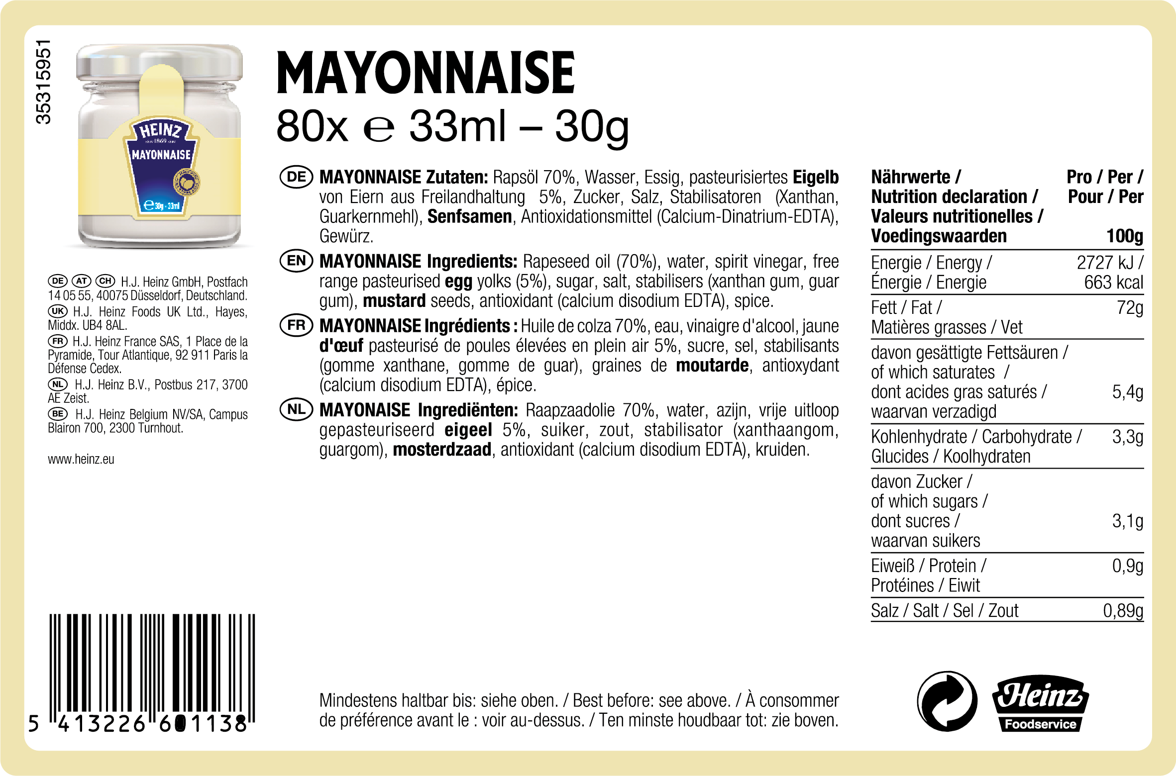 Heinz Mayonaise roomservice 33ml