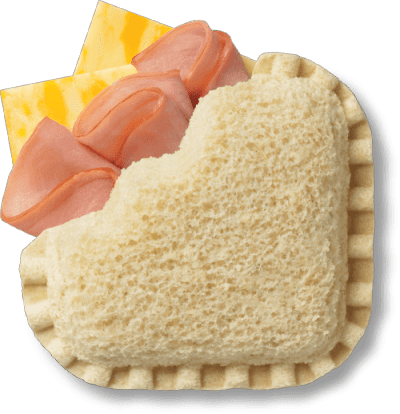 LaunchBox Slammin' Ham & Colby Jack Frozen Sandwiches, 4 ct Box bread