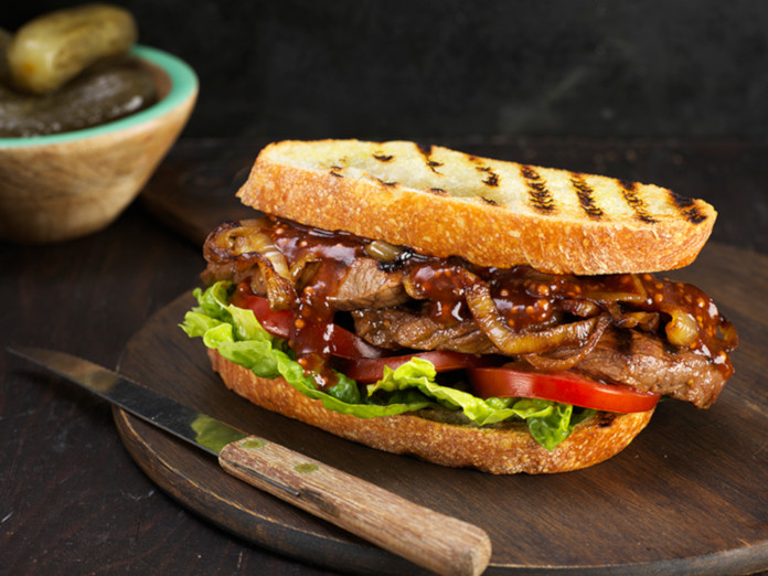 Steak and Mustard Sandwich