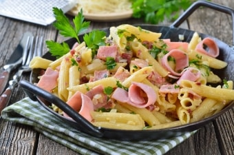 Penne al prosciutto e curry