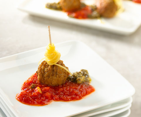 Skewered Pasta and Saucy Meatballs