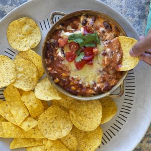 Easy Warm Cheesy Chilli Bean Dip