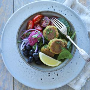Mediterranean Salad with Pea Falafels