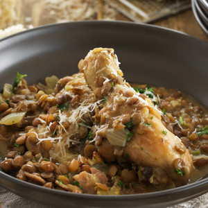 Mike's Braised Chicken with Bacon, Mustard and Lentils