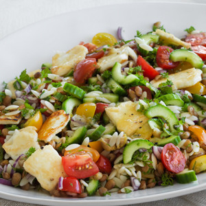 Pasta Salad with Haloumi and Lentils