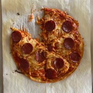 Rustic Spaghetti & Pepperoni Pizza