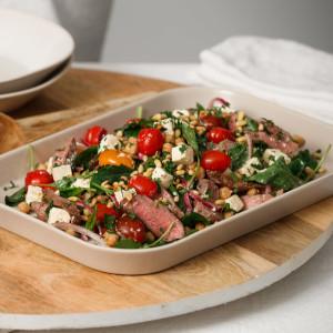 Warm Lamb, Feta and Chickpea Salad