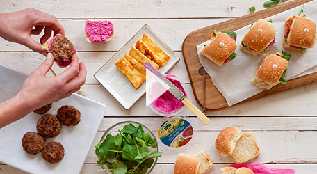 Lamb and Halloumi with Beetroot & Mint Dip