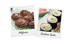 Sushi and Afghan polaroid