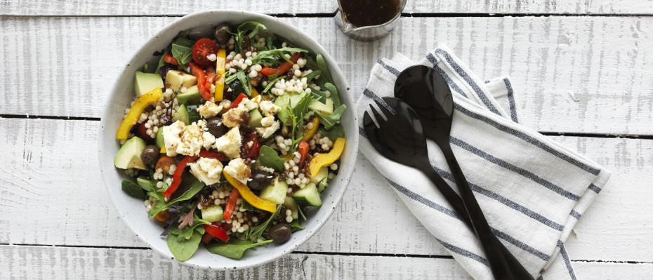 Avocado Greek Salad with Pearl Couscous