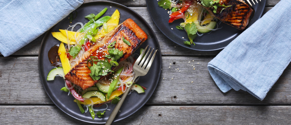 BBQ Asian Salmon and Rice Noodle Salad