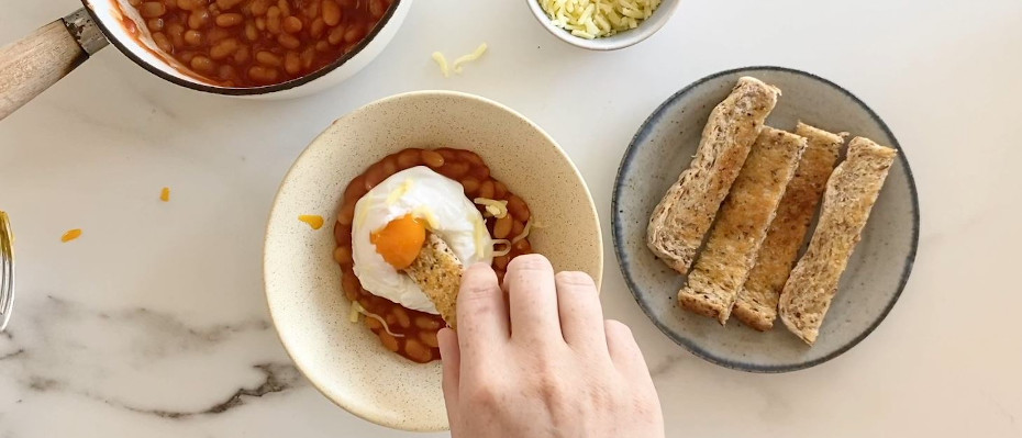 Baked Bean & Poached Eggs with Toast Soldiers