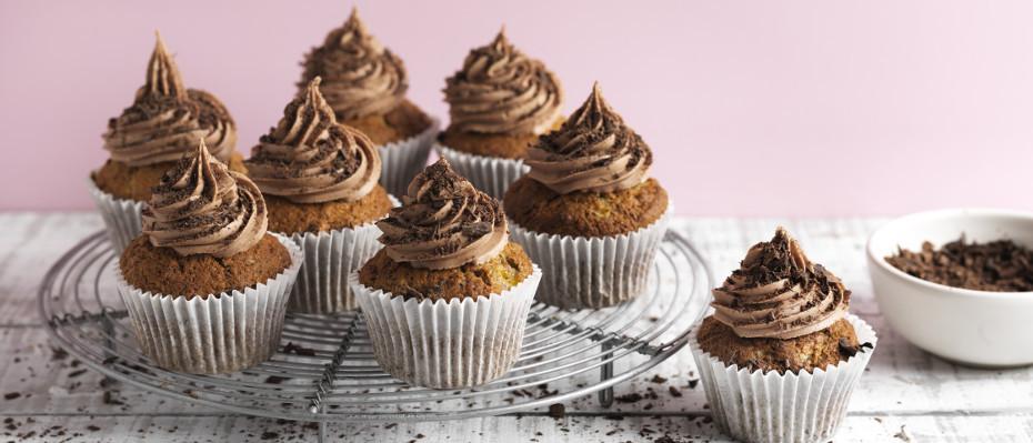 Banana & Cinnamon Cupcakes with Chocolate Buttercream Icing