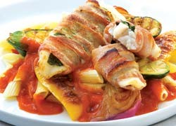 Barbecued Hoki Wrapped in Bacon with Summer Vegetables