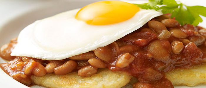 Beans over Hash Browns with Egg