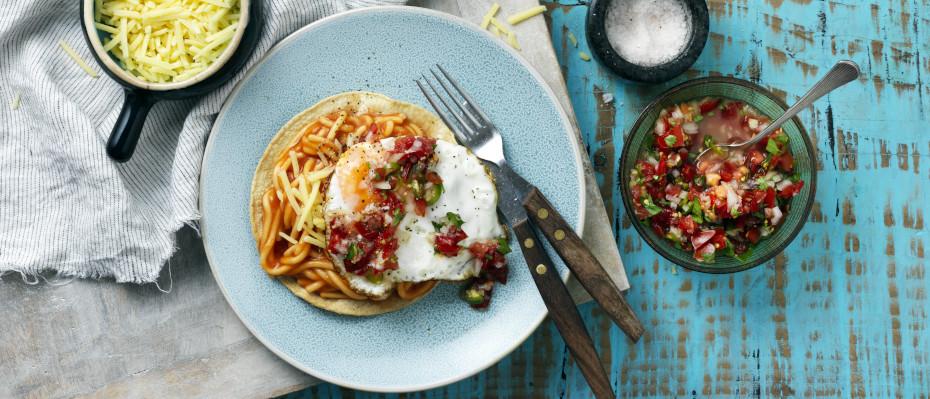 Breakfast Spaghetti Tostadas with Pico de Gallo