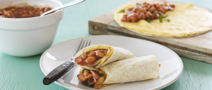Breakfast Tortilla with Baked Beans
