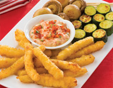 Calamari Chips with Roast Capsicum Dip