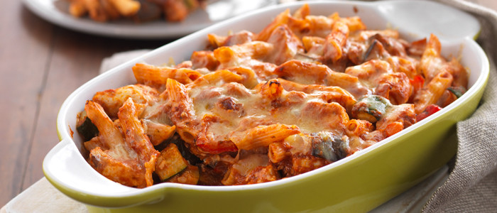 Cheesy Chicken and Roasted Vegetable Pasta Bake