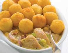 Chicken and Corn Bake with Pom Poms