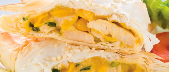 Chicken and Corn Filo Triangles