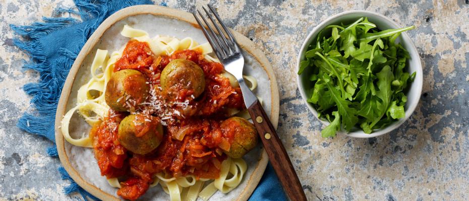 Chickpeas Balls in an Italian Tomato Sauce
