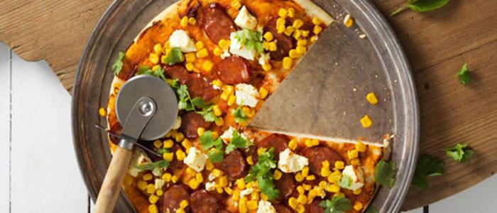 Chorizo, Corn and Feta Pizza