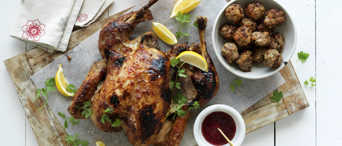 Cranberry Glazed Butterflied Turkey with Pork, Pistachio and Cranberry Stuffing Balls