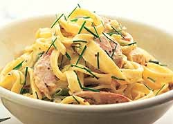 Creamy Smoked Chicken and Chive Fettuccine