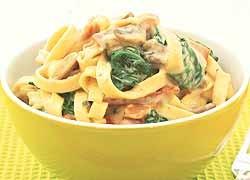 Creamy spinach and Bacon Pasta