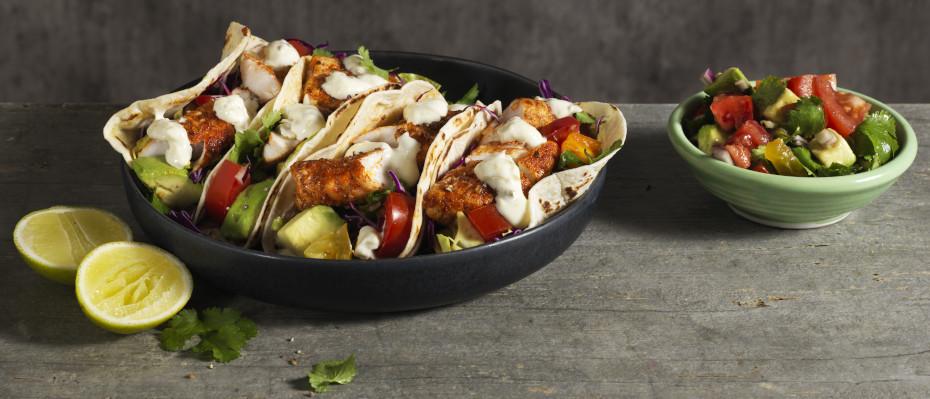 Crispy Blackened Fish Tacos with Avocado and Tomato Salsa
