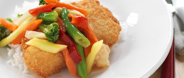 Crispy Crumbed Hoki with Sweet and Sour Vegetables