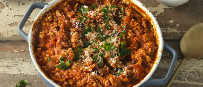 Easy Chicken and Tomato Oven Risotto