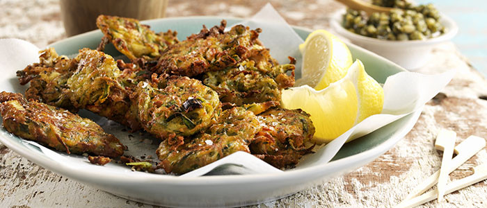 Feta, Courgette and Basil Pesto Fritters