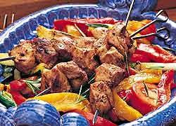 Herbed Pork Kebabs Italian-Style with Grilled Capsicum Salad