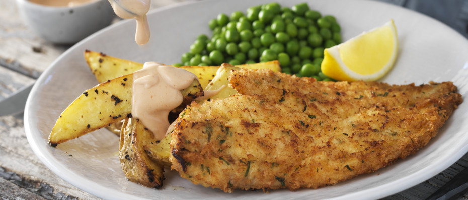 Homemade Crumbed Fish with Hand-Cut Wedges