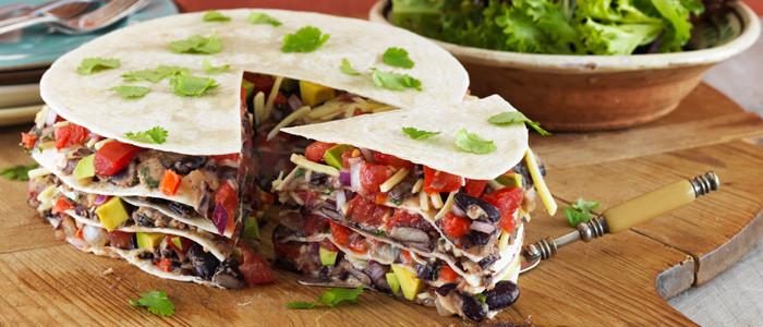Layered Bean Fajitas with Fresh Salsa