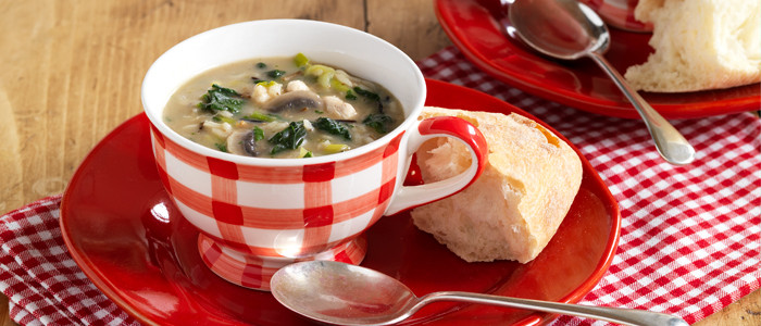 Mushroom, Chicken and Spinach Soup
