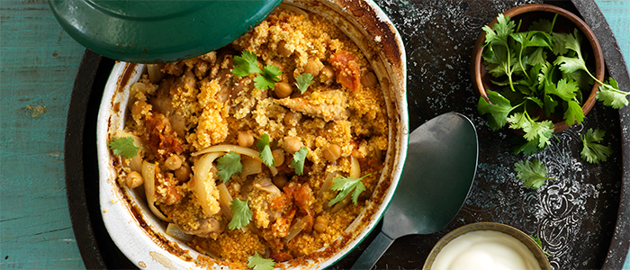 One Dish Moroccan Chicken and Couscous