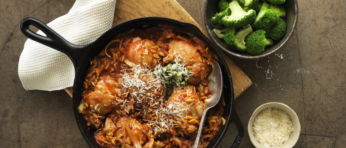 One Pan Italian Chicken and Orzo