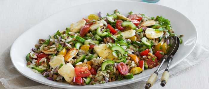 Pasta Salad with Halloumi and Lentils