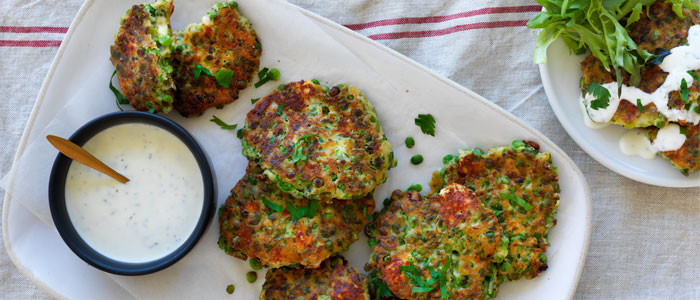 Pea, Feta and Mint Fritters with Yoghurt Dressing