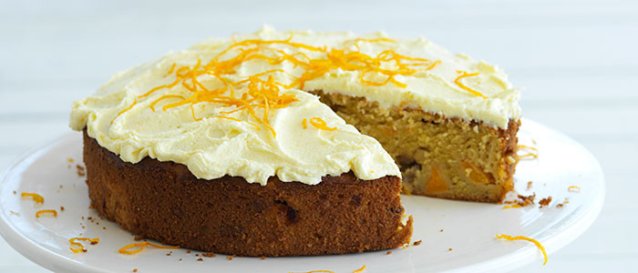 Peach and Walnut Cake with Orange Butter Cream Frosting