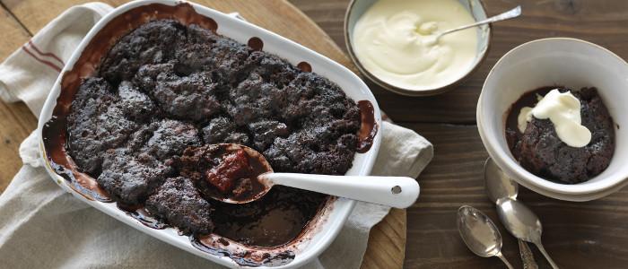 Plum and Chocolate Self Saucing Pudding