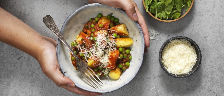 Potato Gnocchi with a Tomato, Pea and Mint Sauce
