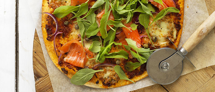 Quick Basil and Tomato, Rocket and Smoked Salmon Pizzas